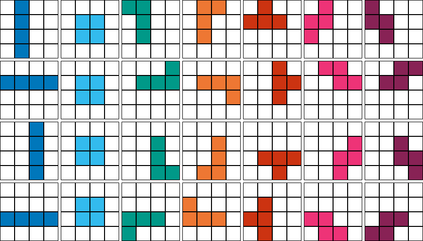 Tetris Blocks And Their Rotations